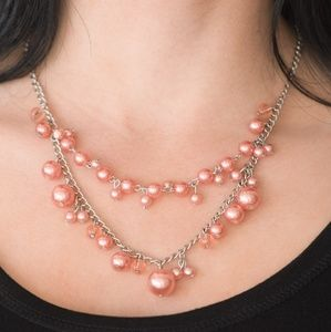 Peach Pearl Beaded Double Tier Necklace